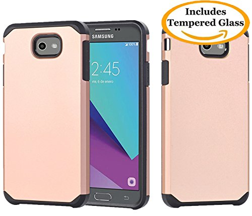 Price comparison product image Galaxy J7 V,  Galaxy J7 Prime,  Galaxy Halo,  Galaxy J7 Perx,  Galaxy J7 Sky Pro,  Galaxy J7 2017,  KMISS Hybrid Dual Layer Shockproof Armor Slim Fit Case With Tempered Glass Screen Protector (Gold)