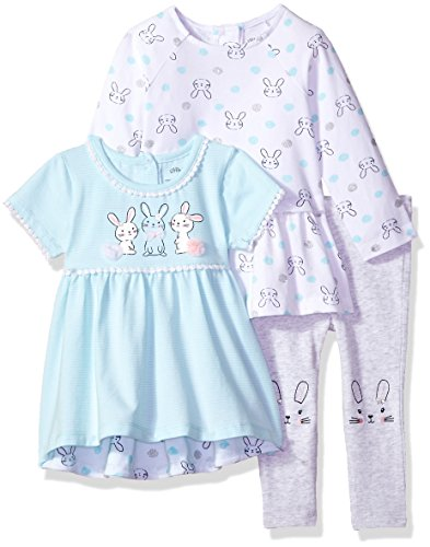 (Little Me Baby Girls' 3 Piece Pants and Shirt Set, Bunny New)