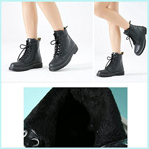 SPEEDEVE Ladies Retro Winter Waterproof Combat Boots Fur Lining Leather Martin Boot Lace up Ankle Boot Black pAT2SPfWmc
