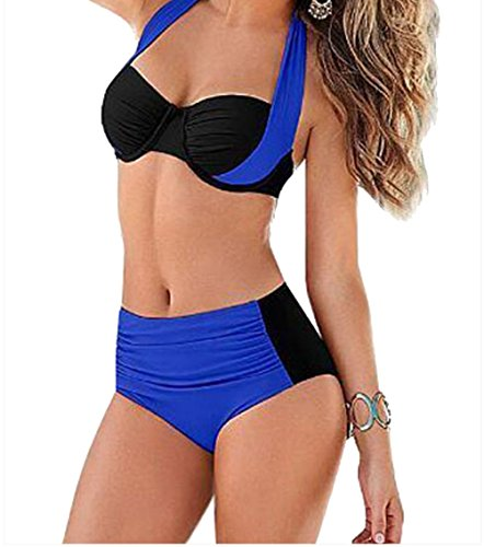 YFFaye Women's Royal Blue Black Stylish Bicolor High Waist Swimsuit