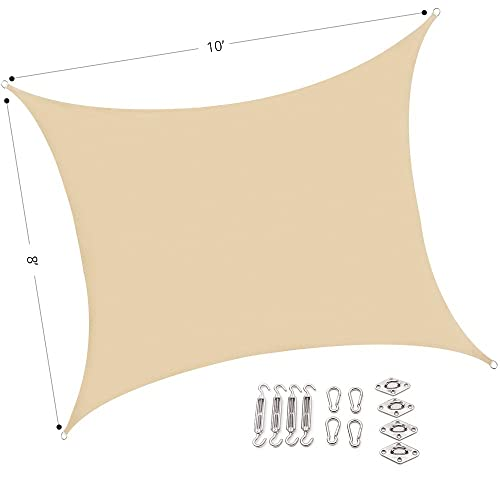 UPGRADE AASR081010 Sun Shade Sail Rectangle, 10 x8 w Hardware kit, Sand