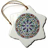 3dRose Morocco, Hassan II Mosque Mosaic, Islamic Tile Detail-AF29 Kwi0019 - Kymri Wilt - Snowflake Ornament, Porcelain, 3-Inch (orn_73581_1)