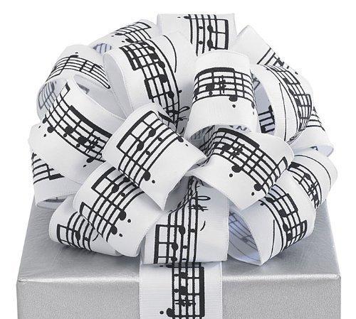 Black Musical Notes White Ribbon 20 yards 1.5'' wired Bow Craft Decor Music Gift by Burton & Burton