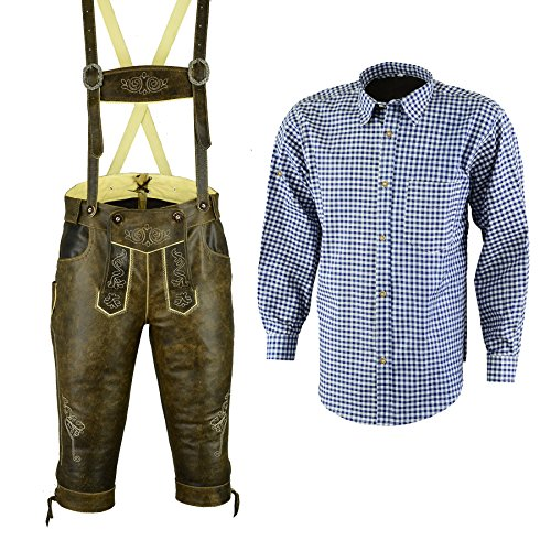 Bundhosen Costume (Bavarian Oktoberfest Trachten Lederhosen Bundhosen Costumes Pure Leather Short (34))
