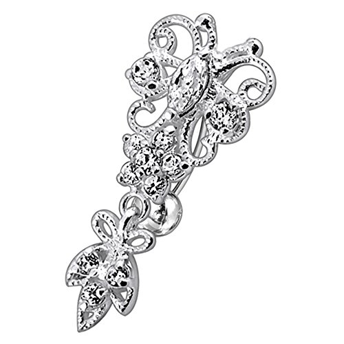 AtoZ Piercing Clear CZ Stone Double Tribal Crown Dangling 925 Sterling Silver Belly Button Ring ()
