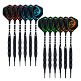 Wolftop 12 Pack Soft Tip Darts 17 Grams with Aluminum Shafts and 4 Style Flights + Extra 36 Pcs Dart Tips
