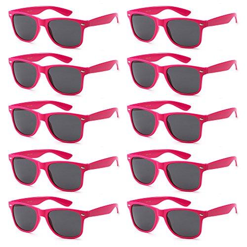 WHOLESALE UNISEX 80'S STYLE RETRO BULK LOT SUNGLASSES (Hot Pink, Smoke) (Hot Pink Wayfarer Sunglasses compare prices)
