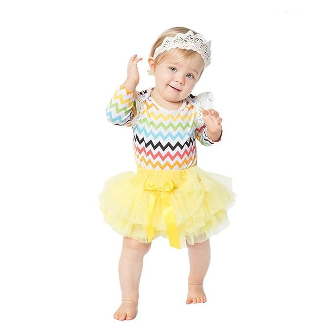 Liyukee - Bebé Niñas Encaje Vestido ala para 0-2 Años Casual ...