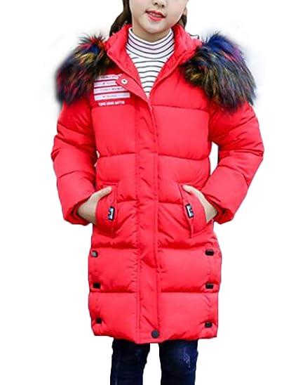 Kunstpelz Oberbekleidung Winterjacke Winter Mädchen Lang Wintermantel Mileeo Tailliert Mantel Parka Mit Jacket Kinder KJF1cl
