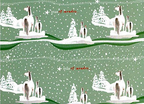 Christmas Horses Rolled Gift Wrap Paper 2 Sheets 19.5 in x 27.5 in