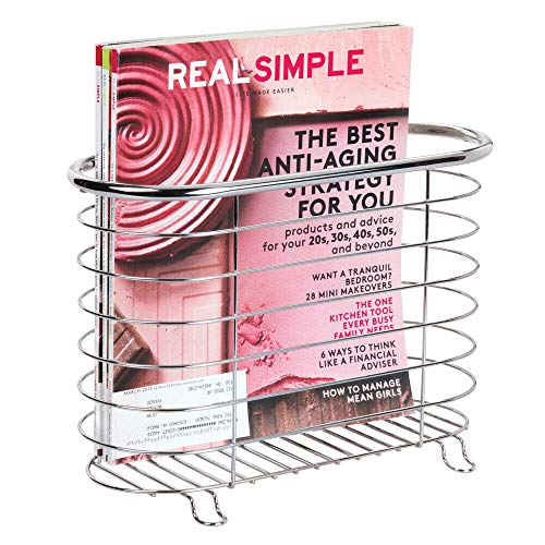 (mDesign Decorative Metal Farmhouse Magazine Holder and Organizer Bin - Standing Rack for Magazines, Books, Newspapers, Tablets in Bathroom, Family Room, Office, Den - Chrome)