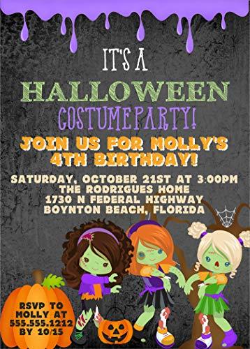 Girls Zombie Halloween Birthday Party Invitations, Halloween Birthday Costume Party Invitation With Envelopes ()