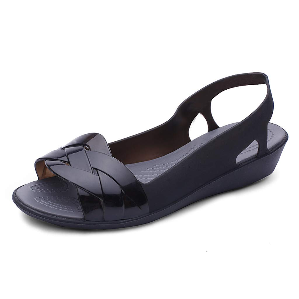 ✔ Hypothesis_X ☎ Womens Sandals Flat Jelly Shoes Slip On Hollow Out Loafers Candy Summer Casual Sandals Black