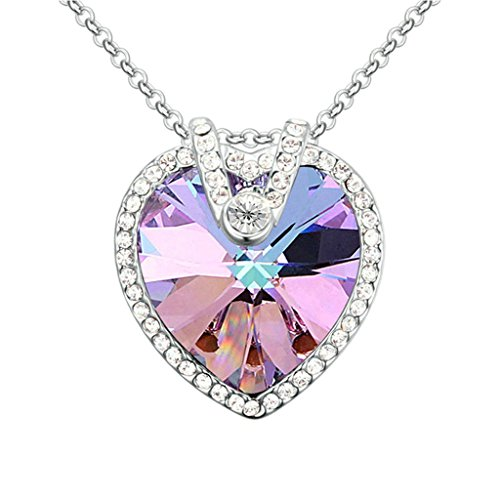 Aooaz Womens Necklace Gold Plated Pendant Necklace Sweat Heart Purple Crystal Pendant Necklace Wedding