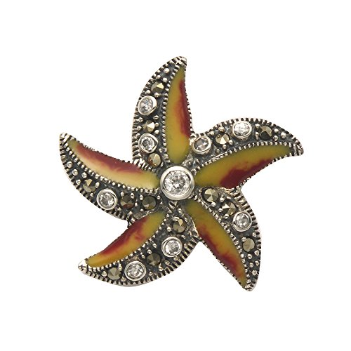 Wild Things Sterling Silver & Marcasite Starfish Pin w/Gold & Red Enamel & Faceted Crystals ()