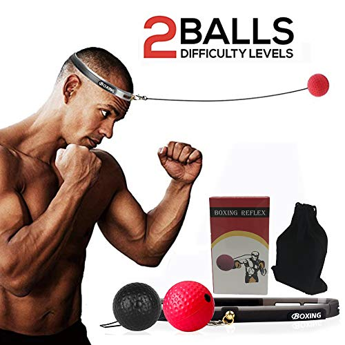 Boxing Reflex Ball, Seed 2 Difficulty Level Boxing Punching Balls with Headband, Softer Than Tennis Ball, Training to Improve Hand Eye Coordination, Punching Skill, Speed, Reaction, Great Boxing ()