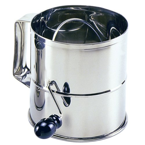 Norpro Polished 8-Cup Stainless Steel Hand Crank Sifter 146 Crank