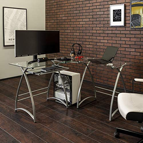 Walker Edison Furniture Company Modern Corner L Shaped Glass Computer Writing Gaming Gamer Command Center Workstation Desk Home Office, 51 Inch, Silver Grey