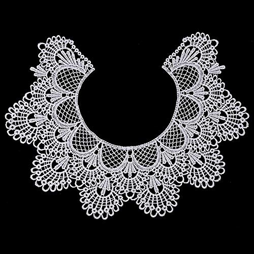 1pc Embroidery Round Ripple Neck African Lace Fabric Collar,DIY Handmade Lace Fabrics for Sewing Supplies Crafts