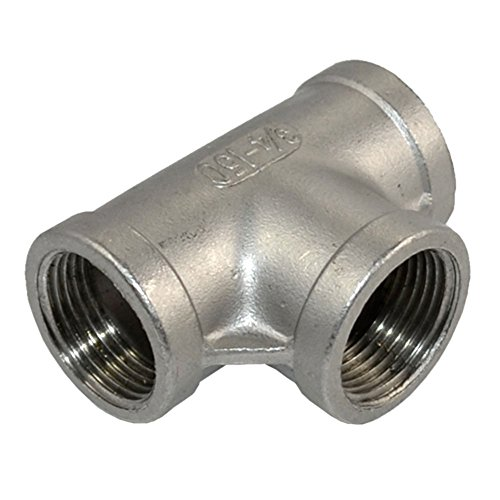 Megairon Stainless Steel 304 NPT Female Thread Pipe Fitting Adapter,3/4 3 Way T Shaped Equal Tee Connector Coupling