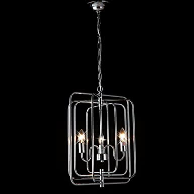 Industrial Hanging Light Antique Brushed Nickel Finish Lamp for Bedroom Dining Hall L16.14x W14.96x H20.86 Inches with 40 Inches Adjustable Chain, 3 x E12 Light