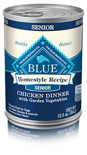 Blue Buffalo Homestyle Recipe Natural Senior Wet Dog Food, Chicken 12.5-Oz Can (Pack Of 12) (Best Canned Dog Food For Senior Dogs)