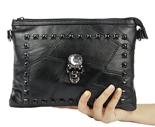 Women Leather Punk Skull Rivet Shoulder Bag Handbag - 5