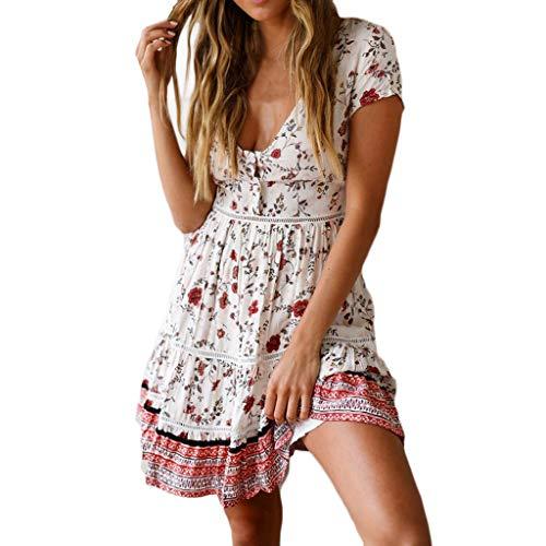 Rakkiss Women Short Dress High Waist Bohemia Print Button Skirt V Neck National Style Short Sleeve Summer Dress ()