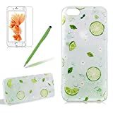 Fresh Fruit Case Cover For Iphone 5 5S SE, Girlyard Summer Cool Mint Lemon Bubble Pattern Soft Silicone TPU Case Cover Ultra Thin Protective Rubber Shock-Resistant Phone Case Cover