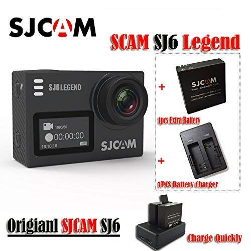 16GB TF Karte + SJCAM SJ6 Legende 4K Wifi Sport Aciton Kamera, HD 4K Action Camer 2 & 039;Touchscreen Fernbedienung Action Sports DV Cam Wasserdicht 4K 24FPS NTK96660 RAW w   Frontscheibe + 1pcs Extra Batterie + 1pcs Double Akku Ladegerät (schwar
