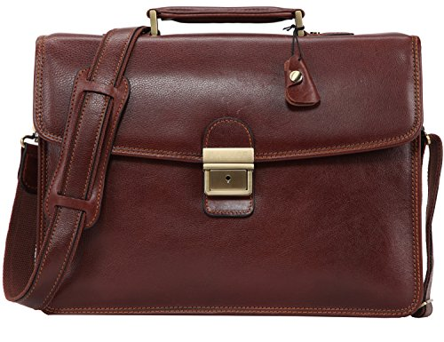 Banuce Men's Full Grains Leather Front Lock Professional Briefcase