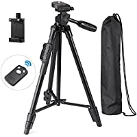 Eocean 50-Inch Tripod, Aluminum iPhone Tripod, Video Tripod for Cellphone and Camera, Universal Tripod + Bluetooth Remote + Cellphone Holder Mount for iPhone, Samsung, etc.