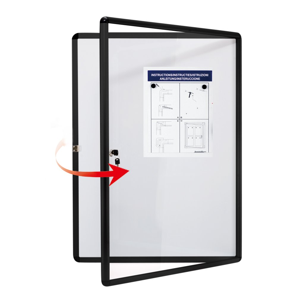 SwanSea Lockable Bulletin Boards Magnetic Whiteboard Notice Cabinet Tamperproof with Aluminum Frame 28x26inch (9xA4)