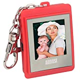 """August DP150 1.5"""" Digital Photo Frame - Keyring Photo Viewer with Built-in Memory for 107 Pictures - Plug & Play (Red)"""