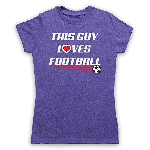 This Guy Loves Football Football Slogan Camiseta para Mujer Morado Clásico