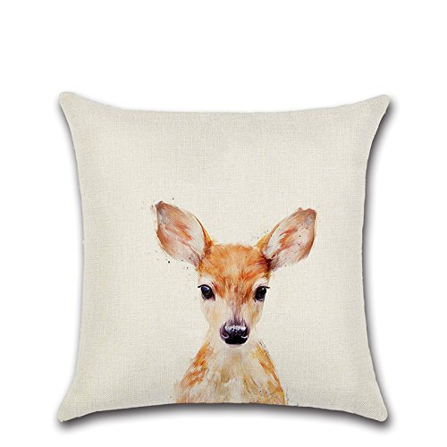 Linen Throw Pillow Case Cushion Cover Home Sofa Decorative 18 X 18Inch Small Animals (fawn) (Tm Multiple No Iron)
