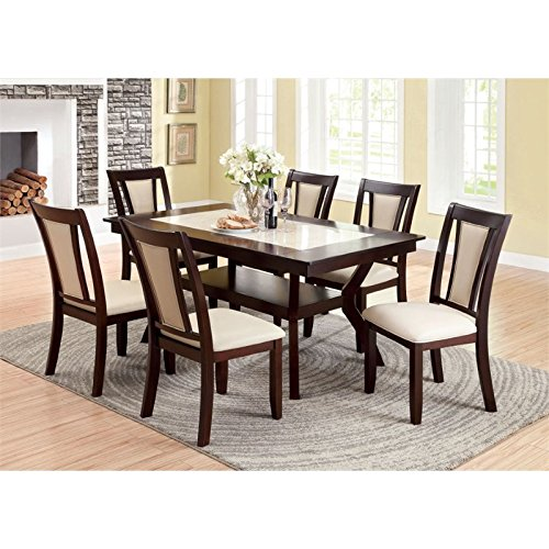 Furniture of America Dalcroze 7-Piece Modern Faux Marble Top Dining Set, Dark ()