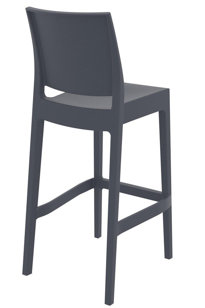 CLP Tabouret de Bar Maya en Plastique Empilable I Chaise de Bar Confortable avec Repose-Pied I Chaise Haute de Cuisine avec Dossier I Hauteur Assise 75 cm I Couleur Noir