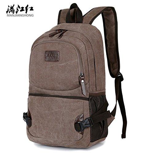Hongrun The Korean version of the middle school bags backpack dual shoulder tide female bag canvas College wind mens Package