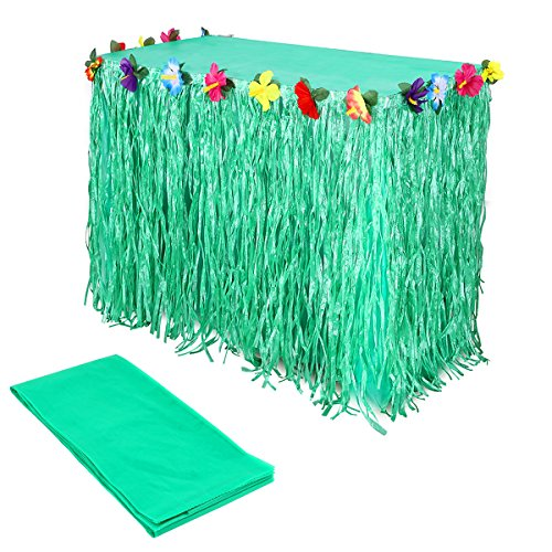 Soy Sauce Baby Costume (Hawaiian Luau Table Skirt Green String Hibiscus Leis Silk Flower with Plastic Tablecloth for Beach Pool Party Decoration -9ft Long)