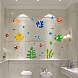 YUMULINN wallpaper stickers Wallpapers murals Cute wall stickers fish bedroom warm wall stickers bathroom decorative glass stickers bathroom waterproof tile stickers, 24X42CM