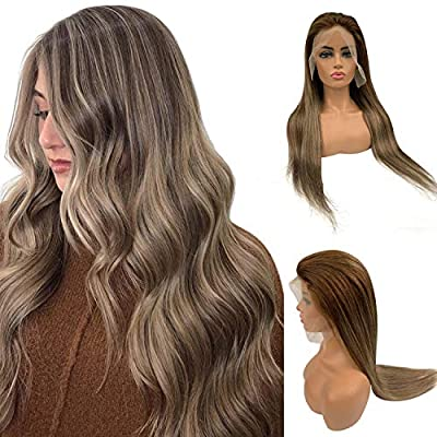 """Licoville Human Hair Wigs 14"""" 16"""" 18"""" 20"""" 22"""" 24"""" Ombre Balayage Lace Front Wigs Straight Brazilian Remy Hair Highlights Lace Frontal Wig 150% Density Pre Plucked"""