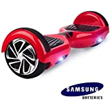 """Hoverboard UL 2272 Certified 6.5"""" with LED Lights Self Balancing Wheel Electric Scooter Free Carrying Bag - Red"""