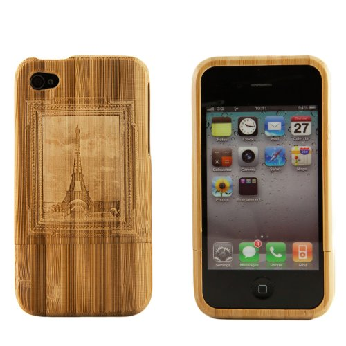 Boho Tronics Bohobamboocases Natural Handmade hard wood Bamboo Engraved Eiffel Tower Framed Art Case Cover For iPhone 7 & iPhone 8 For Apple iPhone 7 & iPhone 8