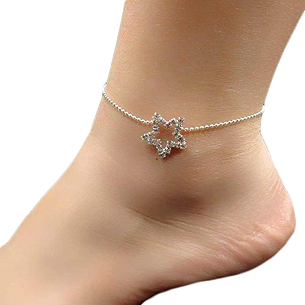 AIUIN Ankle Bracelet Women Lady Pretty Elegant Stars Ankle Chain Anklet Bracelet Barefoot Sandal Beach Foot Jewelry Toe Ring Anklet Chain Sparkly Ankle Bracelet, with a Jewerly Bag VN202160