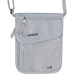 Boundless Neck Pouch Passport Travel Wallet With RFID Security Blocking