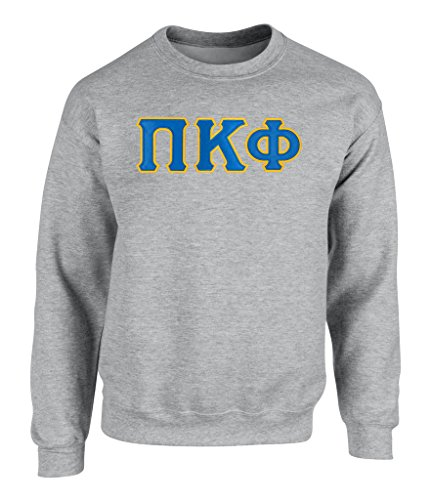 - Fashion Greek PI Kappa Phi Twill Letter Crewneck Sweatshirt Spt Grey XL
