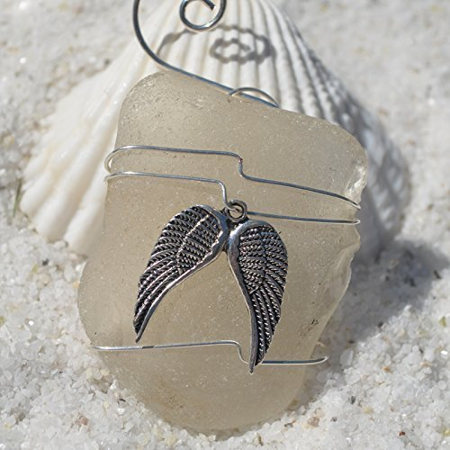 Custom Surf Tumbled Sea Glass Ornament with a Silver Angel Wings Charm - Choose Your Color Sea Glass Frosted, Green, and Brown. ()