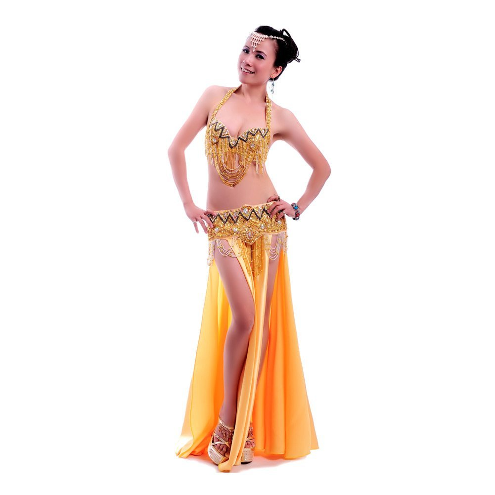 ROYAL SMEELA Belly Dance Costume Set for Women Professional Belly Dance Bra and Belt Belly Dancing Skirt Slit Carnival Outfit