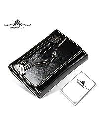 Artemis'Iris Smiley Face Compact Purse Wax Genuine Leather Zipper Trifold Pocket Wallet Money Cards Coins Change Holder Organizer , black